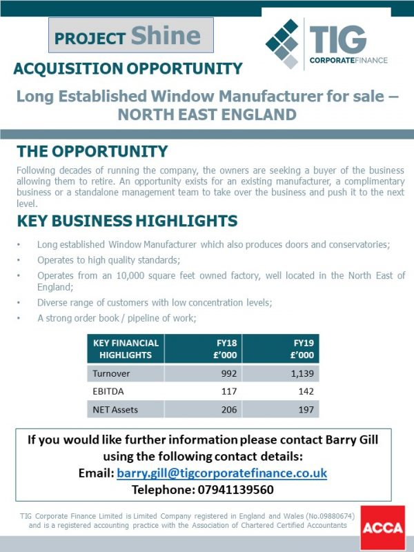 Image of Project Shine – Window Manufacturer For Sale